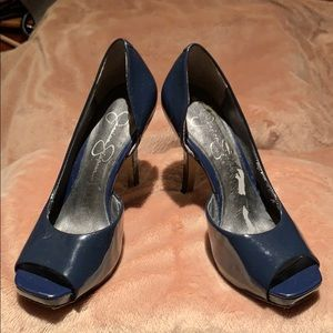 Jessica Simpson Navy platform pumps